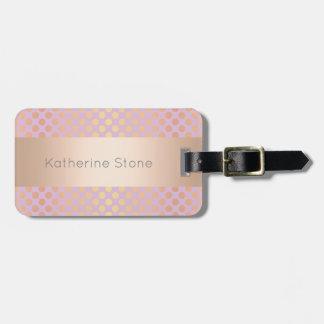 Elegant stylish rose gold polka dots pattern pink luggage tag