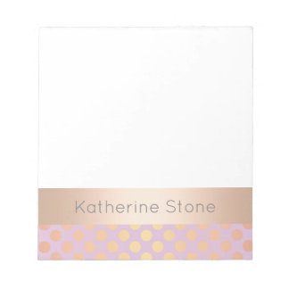 Elegant stylish rose gold polka dots pattern pink notepad