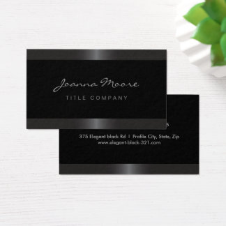 Elegant stylish satin gray border black business card