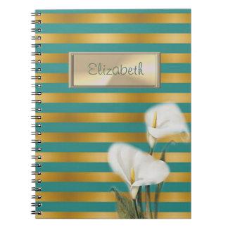 Elegant Stylish,Striped,Calla Lily,Personalized Spiral Notebook