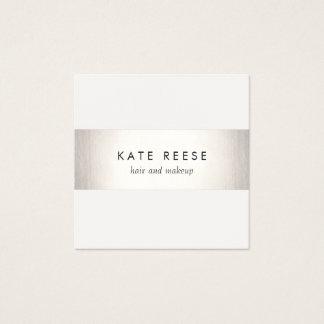 Elegant Stylish White Modern FAUX Silver Striped Square Business Card