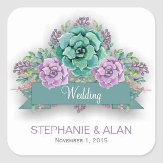 Elegant Succulent Floral Watercolor Wedding Square Sticker