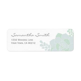 Elegant Succulent Wedding Return Address Labels