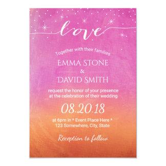 Elegant Summer Beach Sky Script Love Wedding 13 Cm X 18 Cm Invitation Card