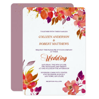 Elegant Summer Bouquet Modern Wedding Invitation