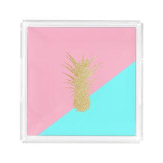 elegant summer gold glitter pineapple pink mint acrylic tray