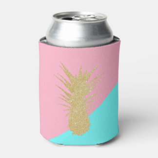 elegant summer gold glitter pineapple pink mint can cooler