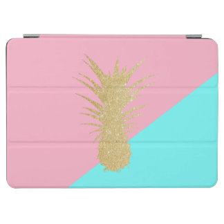 elegant summer gold glitter pineapple pink mint iPad air cover