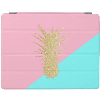 elegant summer gold glitter pineapple pink mint iPad cover