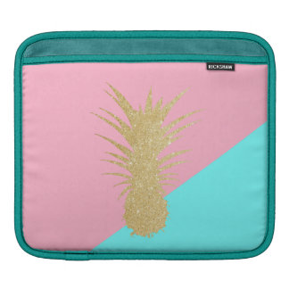 elegant summer gold glitter pineapple pink mint iPad sleeve