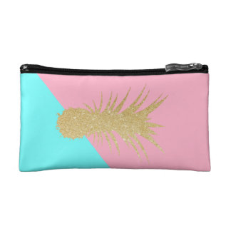 elegant summer gold glitter pineapple pink mint makeup bag