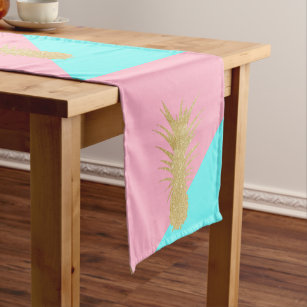 elegant summer gold glitter pineapple pink mint short table runner