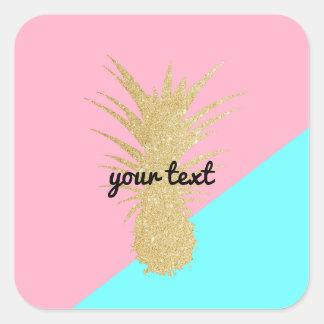 elegant summer gold glitter pineapple pink mint square sticker