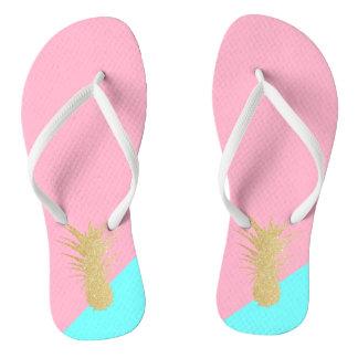 elegant summer gold glitter pineapple pink mint thongs