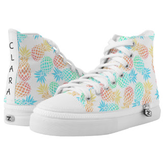 elegant summer tropical colorful pineapple pattern high tops