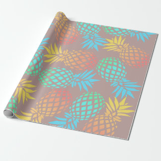 elegant summer tropical colorful pineapple pattern wrapping paper