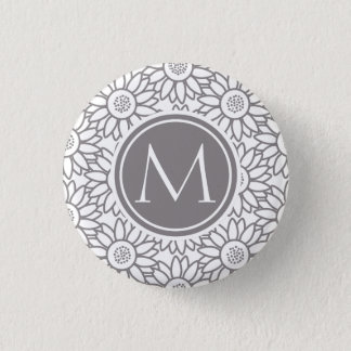 Elegant Sunflower Pattern Monogrammed 3 Cm Round Badge