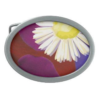 Elegant Sunflower Rose Petal Art Oval Belt Buckle