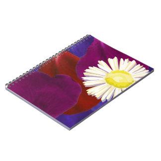 Elegant Sunflower Rose Petal Art Spiral Notebooks