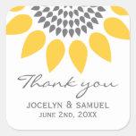 Elegant Sunflower Wedding Favour Square Stickers