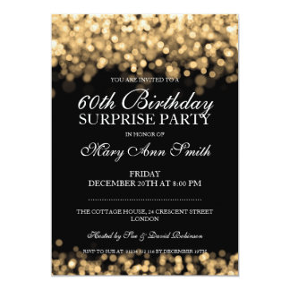 Elegant Surprise Birthday Party Gold Lights Card