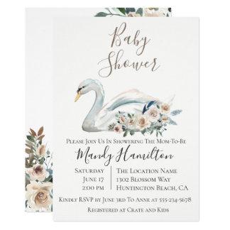 Elegant Swan Floral Baby Shower Invitation