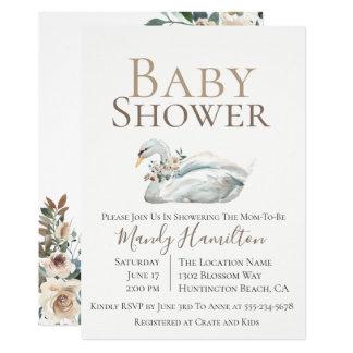 Elegant Swan Floral Neutral Baby Shower Invitation