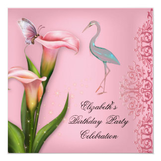 """Elegant Swan Pink Calla Lily Floral Birthday Party 5.25"""" Square Invitation Card"""