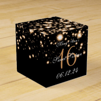Elegant Sweet 16 Birthday Midnight Glam Gold Favour Box