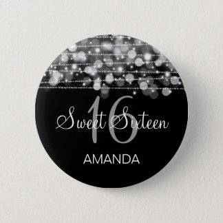 Elegant Sweet 16 Birthday Party Sparkles Silver 6 Cm Round Badge