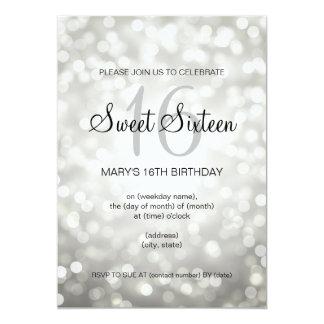 Elegant Sweet 16 Birthday Silver Glitter Lights 13 Cm X 18 Cm Invitation Card