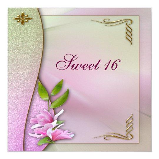 Elegant Sweet 16 Pink Magnolia Invites