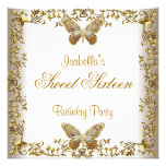 Elegant Sweet Sixteen 16 White Gold Butterfly Personalised Announcement