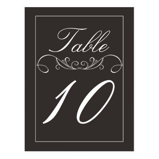 Elegant Swirl Black Wedding Table Number Cards Postcard