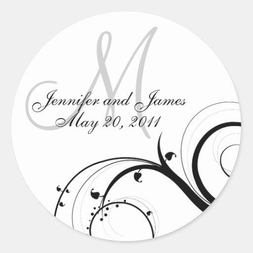 Elegant Swirl Monogram Wedding Invitation Sticker