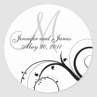 Elegant Swirl Monogram Wedding Invitation Stickers