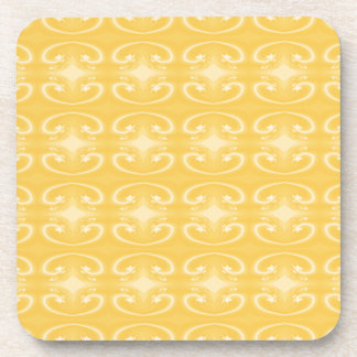 Elegant Swirl Pattern in Golden Yellow Colors. Coasters
