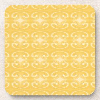 Elegant Swirl Pattern in Golden Yellow Colors. Coasters