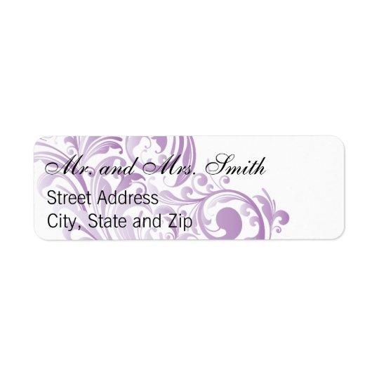 Elegant Swirl Return Labels - Purple