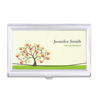 Elegant Swirl Wish Tree Symbol with Custom Text Business Card Holder
