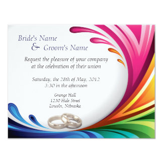 Elegant Swirling Rainbow Splash Invite - 4B