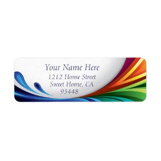 Elegant Swirling Rainbow Splash - Return Label - 1 Return Address Label