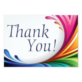 Elegant Swirling Rainbow Splash - Thank You - 3 Card