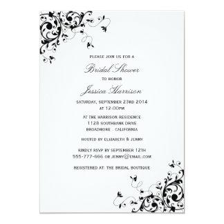 Elegant Swirls Black & White Bridal Shower Card