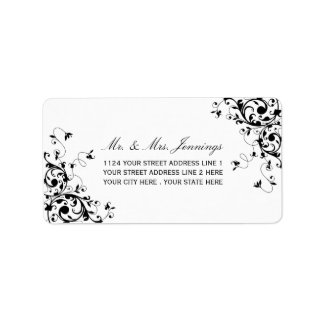 Elegant Swirls Black & White Wedding Labels
