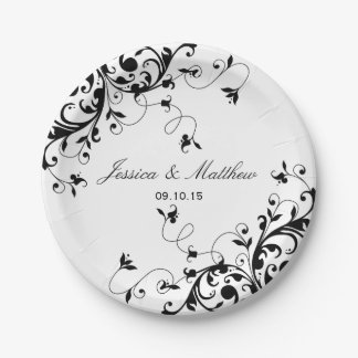 Elegant Swirls Black & White Wedding Paper Plate