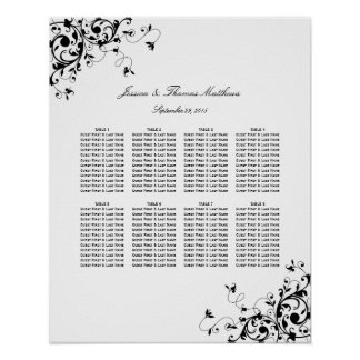 Elegant Swirls Black & White Wedding Seating Chart Poster