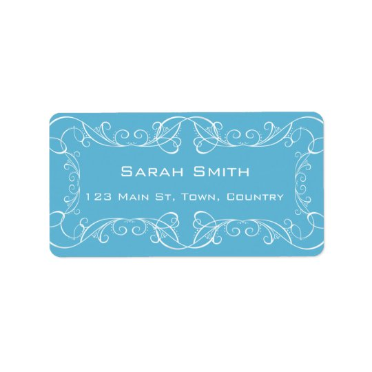 Elegant Swirls Blue Wedding Return RSVP Labels