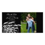 Elegant swirls save the date wedding photocard personalised photo card