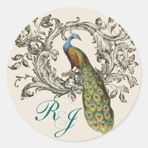 elegant swirls Vintage lily floral peacock wedding Stickers